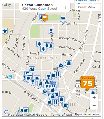 Map showing all the restaurants, bars, and shops near 402 (75 walking score = very walkable)